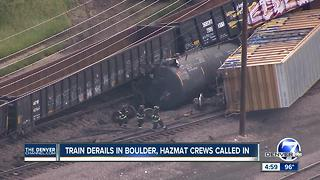 Train derails near Arapahoe Avenue in Boulder, spilling plastic beads; evacuations being lifted - Video