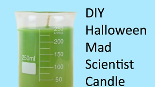 DIY Halloween mad scientist candle
