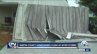 Martin County homeowners pick up after tornado briefly touches down - Video