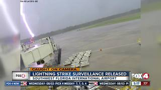 Surveillance video shows moment lightning strikes RSW worker