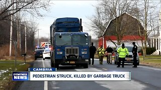 Deadly crash involving garbage truck and pedestrian in Cambria