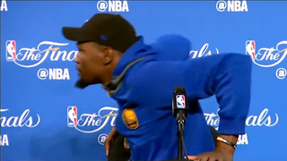 Kevin Durant RUNS Off Stage After Being Scared by Air Conditioner During Press Conference - Video