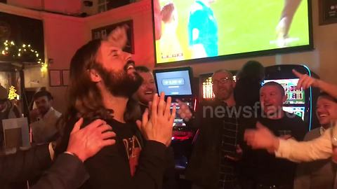 Football fans sing 'happy birthday' to Jesus lookalike