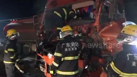 Two people rescued from chemical tank car after crash