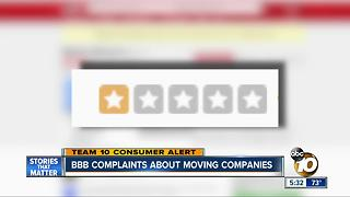 BBB complaints about moving companies