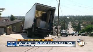 Out of control truck crashe near home - Video