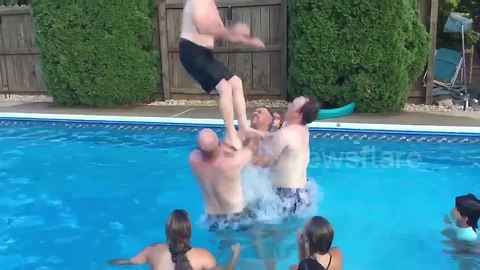 Old Man Performs Perfect Back-Flip In Swimming Pool