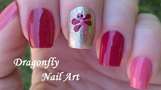 Dragonfly Nail Art By Dotting Tool - Video