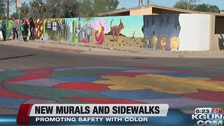 Pueblo Gardens Elementary School splashes color on walls and crosswalks to increase safety and fun - Video