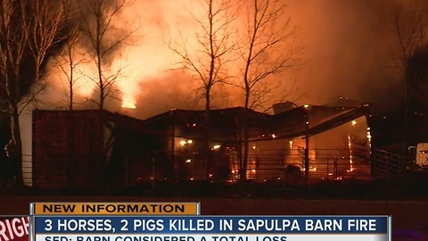 3 horses, 2 pigs die in Sapulpa barn fire