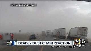 Deadly chain reaction crash caused by dusty conditions along New Mexico border - Video