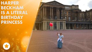 Harper Beckham has 6th birthday at Buckingham Palace - Video