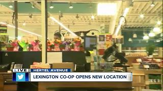 Customers line up outside of Lexington Co-op grand opening - Video