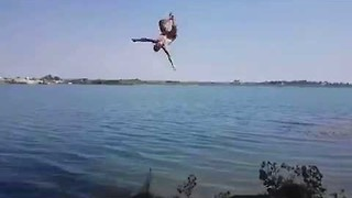Guy's Attempt at Rope Swing Backflip Goes Terribly Wrong - Video