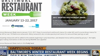 Baltimore's Winter Restaurant Week begins Friday