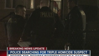 Police searching for overnight triple homicide suspect - Video