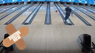 Man Slips After Throwing Bowling Ball