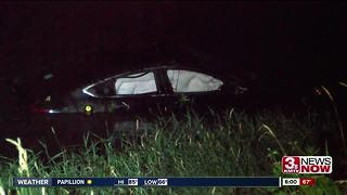 Car ends up in creek after crash