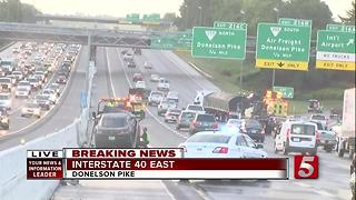 Hazmat Responds To Chain Reaction I-40 Crash - Video