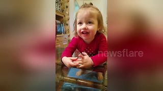 Cute toddler begs for tomatoes - Video