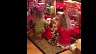 Surprise Christmas puppies shock little girls