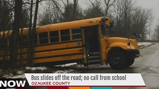 Cedarburg parents concerned after bus slides off road - Video