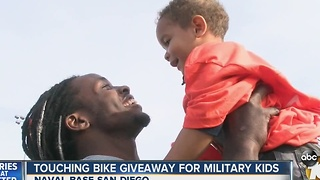 Touching bike giveaway for military kids