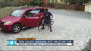 Teen caught breaking into unlocked car - Video