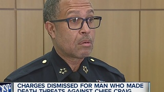 Charges dismissed for man who made death threats against chief - Video