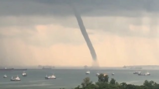 Large Waterspout Forms Off Singapore's East Coast - Video