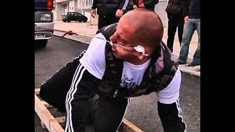 Strongman Pulls Eight Tonne Truck - With His Ear
