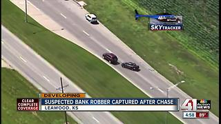 Bank robbery suspect arrested after police pursuit, crash in south KC metro (5pm) - Video