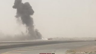 Smoke Billows From Emirates Plane After Emergency Landing - Video