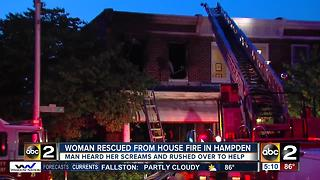 Firefighters injured battling rowhome fire in Hampden - Video