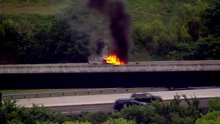 Truck Catches On Fire On Interstate 65