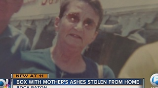 Box with mother's ashes stolen from home - Video