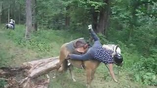 Girl falls off horse in epic wipe out