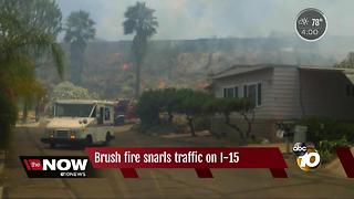Brush fire snarls traffic on I-15 - Video