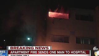 Apartment fire sends one man to hospital - Video