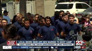 Bikers in Bakersfield send off new marines to boot camp - Video