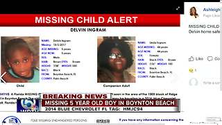 Missing child alert issued for 5-year-old Boynton Beach boy