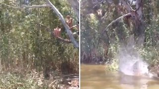 Girl falls off rope and slams face first into water