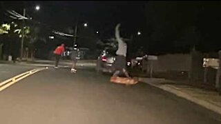 Skater loses control at high speed and crashes into car