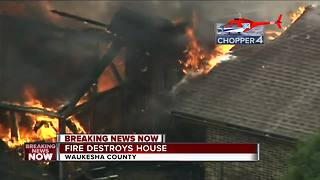 Fire destroys house in Waukesha County - Video