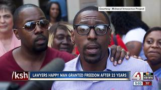 Law team talks after imprisoned man goes free - Video