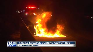 Family escapes burning car on 805 freeway - Video