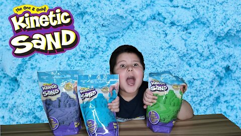 Kids Kinetic Sand Blue, Green, Purple Full Unboxing & Review