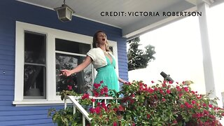 North Park soprano opera singer performs from porch