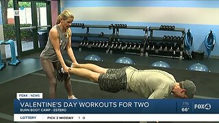 Valentine's Day couple pushup workout