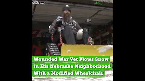 Wounded War Vet Plows Snow With Modified Wheelchair